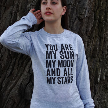 My Sun, Moon and Stars Long Sleeve T-Shirt. Unisex Sizing.
