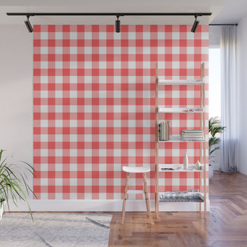 gingham red pattern Wall Mural by jessycat