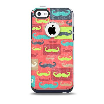 The Vintage Coral and Neon Mustaches Skin for the iPhone 5c OtterBox Commuter Case