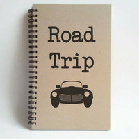 Road Trip, 5x8 writing journal, custom spiral notebook, personalized brown kraft memory book, small sketchbook, travel journal