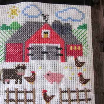 Folk Art Welcome Sign Farm Animals Cross Stitch Sampler Wall Hanging