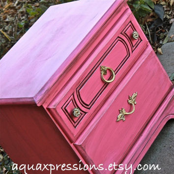 Vintage Nightstand /Pink /Glazed /Distressed by AquaXpressions