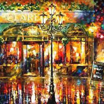 Clarens Misty Cafe — PALETTE KNIFE Oil Painting On Canvas By Leonid Afremov