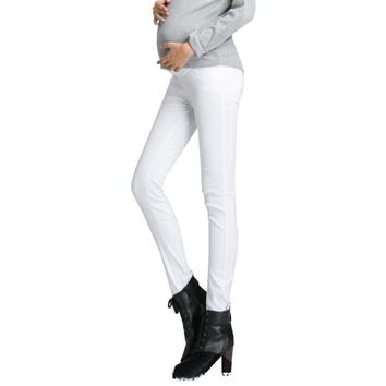 Women's 100% Cotton Fashion Maternity Jeans Skinny Pants Elastic Waist