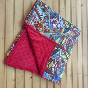 Retro marvel comics baby blanket