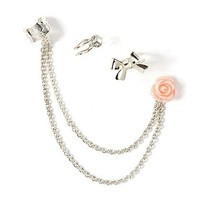 Cute Silver Ear Cuffs with Rose Stud Earring – Claire's