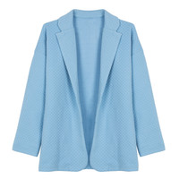 Light Blue Lapel Geo Jacquard Blazer