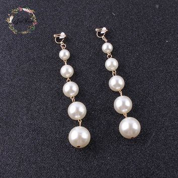 JIOFREE new design Trendy long Big Simulated Pearl  Clip on Earrings Pearls String Statement  Earrings For Wedding Party Gift