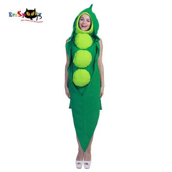 Eraspooky Funny Party Halloween Costume for Adults Green Pea Pod Costume Women Cosplay Hooded Jumpsuit Cute Christmas Clothes
