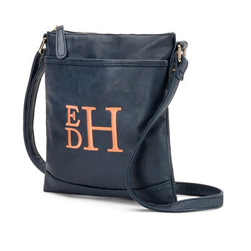Navy Blue Crossbody Purse Wallet  - Monogrammed Personalized