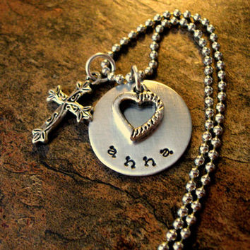 Hand Stamped Jewelry, Personalized Jewelry, Religious Jewelry, Cross Necklace