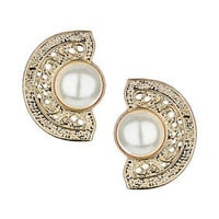 Pearl Filigree Stud Earrings - Jewelry  - Bags & Accessories