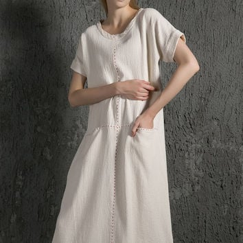 Elegant causal linen Dress With Pockets C627