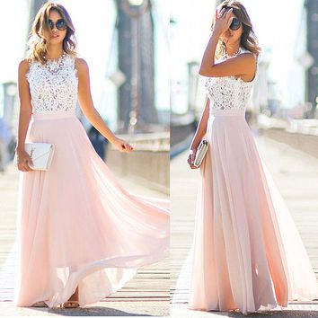 Temperament Fashion Lace Stitching Chiffon Gauze Sleeveless Maxi Dress