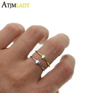 Real 925 Sterling Silver Heart Rings For Women Oper Adjust heart Ring Simple Cute Pure Girls Jewelry Finger Toe Anillos Bague