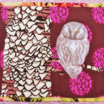 Thread Painted 8 X 10 Mini Quilt of Owl, photograph, fabric, quilt, floral, tree, branch, fiber art, picture