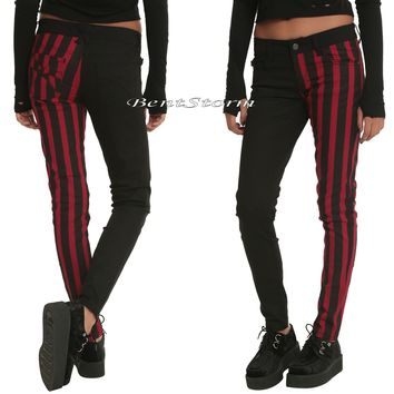 Licensed cool Royal Bones Tripp Black Red Stripes Split Skinny Jeans Pants JUNIORS SIZE 3 NWT