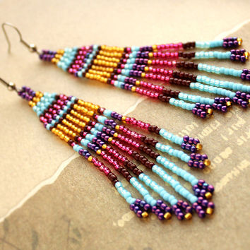 Colorful boho earrings Dangle bohemian earrings Beaded jewelry Seed bead earrings 4 inch long Fringe beaded earrings Boho style jewellery
