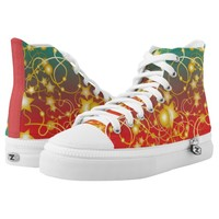 Golden Stars and Circles on A Gradient Background High-Top Sneakers