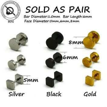 ac DCCKO2Q BOG-Pair 316L Surgical Steel Ear Studs Earrings Cheater Faux Fake Ear Tunnel Plugs Gauges Body Piercing Jewelry  18g Gold Black