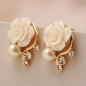 Fashion Jewelry Earing For Women Korean Style OL Pink Rose Crystal Pearl Double Side Stud Earing