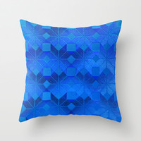 Twilight Throw Pillow by Gréta Thórsdóttir  #scandinavian #snowflake #pattern #blue #cobalt #ombre #nightfall #livingroom