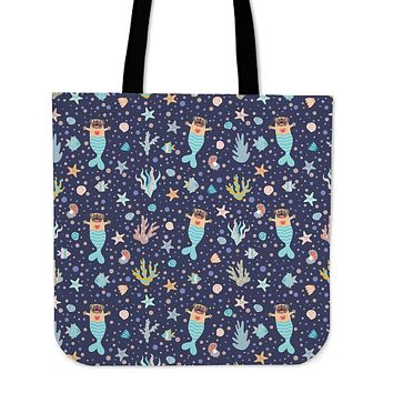 Mermaid Pug Linen Tote Bag