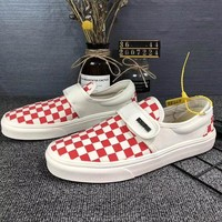 Vans Vault OG Classic Slip-On Lx Canvas Old Skool Checkerboard Flats Shoes Sneakers Sport Shoes
