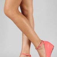 Bobby-1 Leatherette Ankle Strap Wedge