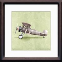 Classic Vintage Style Air Plane 8x8 Wall Art Print by Caramel Expressions