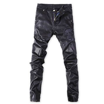 Punk style fashion skull print slim fit pu leather jeans men