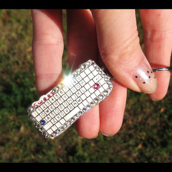 BLING Keybord Keychain with crystals sleutelhanger Keybord key chain Keybord key ring Keybord keyring PC admin game micro keyboard