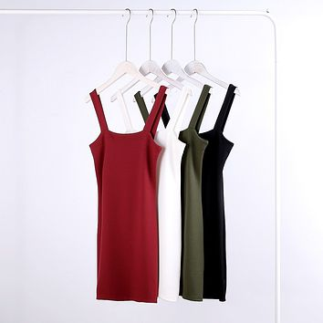 Pure Color O-neck Open Back Body-con Mini  Dress