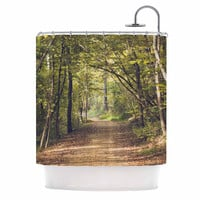 "Ann Barnes ""Forest Light"" Nature Photography Trees Green Shower Curtain"