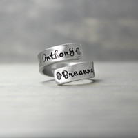 Mother Ring, Pewter Wrap Ring, Mothers Day Gift, Kids Names Rings, Mommy Ring, Hand Stamped Jewelry, Stamped Ring, Heart Ring, Name Ring
