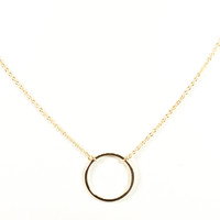 DELICATE CIRCLE RING NECKLACE - gold