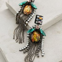 Fringed Amber Drops by Deepa Gurnani Brown Motif One Size Earrings