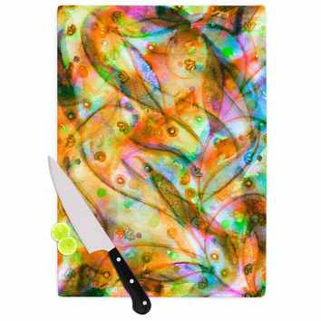 "Ebi Emporium ""Flourish - Yellow"" Orange Floral Cutting Board"