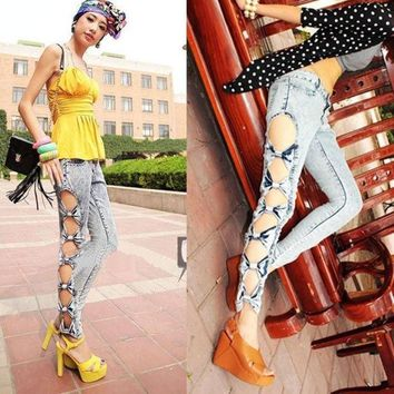PEAPUG3 Vintage Detailed Woman Side Bow Cutout Ripped Denim Sexy Jeans Jeggings Trousers  5028 = 1904728132
