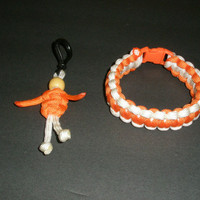 Orange and White Paracord Survival Bracelet with Para Buddy Key Chain / Zipper Pull Set