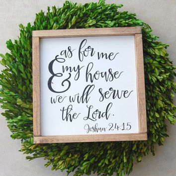 As for me & my house we will serve the Lord scripture framed wood sign, home decor