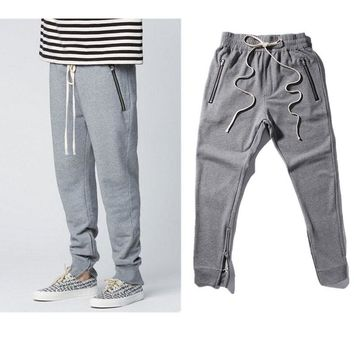 2017 Best Version Fear Of God FOG Justin Bieber side zipper casual sweatpants men hiphop jogger pants cotton Paris Kanye West