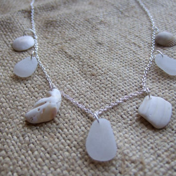 Mermaid's necklace - sterling silver 22'' necklace with Scottish sea glass in pure white and shells in white, puristic white necklace