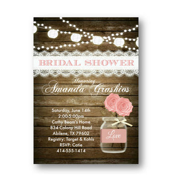 Blush Bridal Shower Invitation rustic mason jar pink wood and lace - Bridal Shower Invite printed or printable options available 5x7 lights