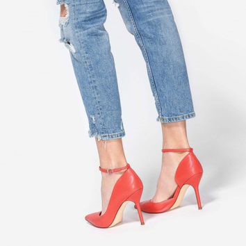Red Pointed D'Orsay Stilettos | CHARLES & KEITH