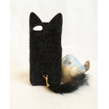 Black pink fox tail, cat ear,  fur, fuzzy, iphone 5 cases -  good gift for Valentine's Day, birthday