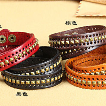 Steampunk Rivet Real Leather Bracelet,Women's Wrap Cuff Bracelet,  Men's Leather Bracelet  K015