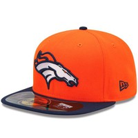 New Era Denver Broncos 2013 On-Field Player Sideline Performance 59FIFTY Fitted Hat - Orange/Navy Blue