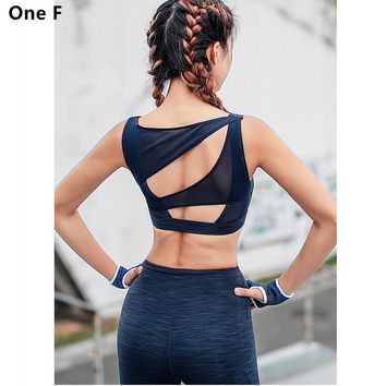 One F  space dye sport suit women blue mesh jogging suits breathable fitness gym clothing high waist stich yoga set