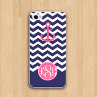 monogram iphone 5s case- iphone 5c case -pink anchor chevron monogram IPhone 5 cases - iphone 5C case, iphone 5S case - nautical style